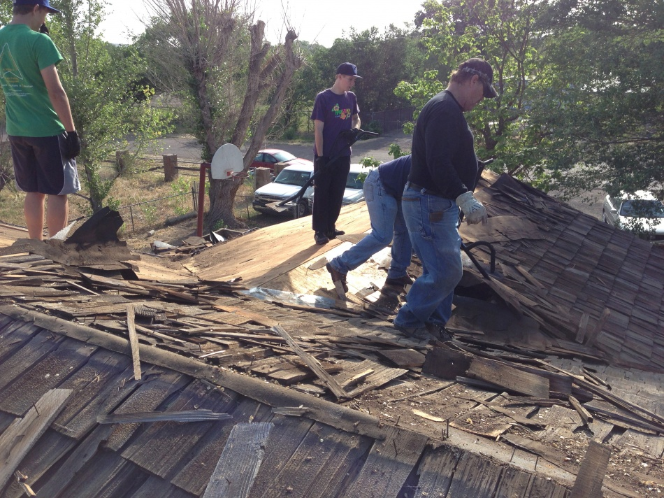 Phase one of use putting a new roof on our house.  We worked from 5am to about 5pm that day, and ended everything at Molly Butler's for steaks.