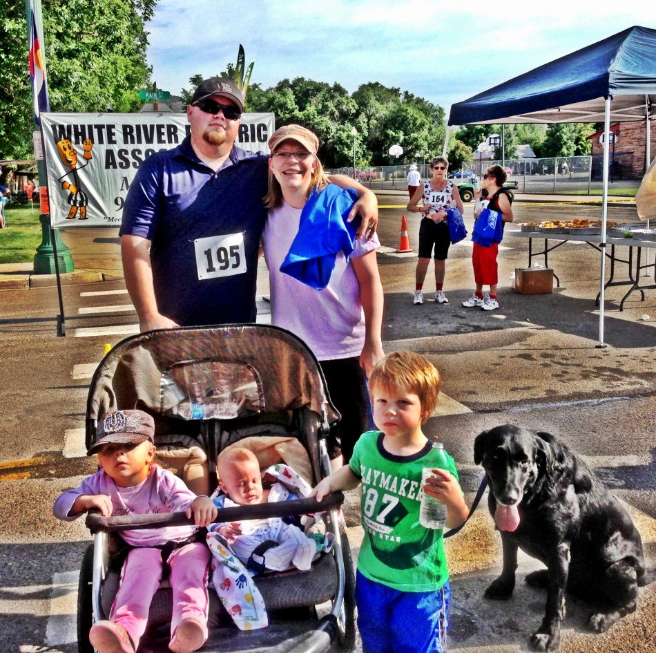 The family finishing up with the 5K in Meeker on July 4th.