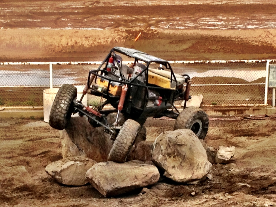 During the demolition derby there were rock crawlers showing off their skills.
